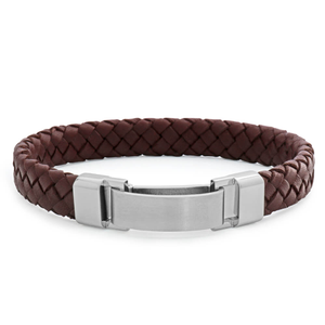 Stainless Steel and Brown Leather Gents Bracelet 21.5cm