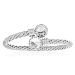 Stainless Steel White Crystal Bangle
