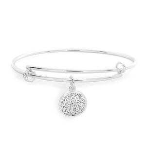 Sterlina Milano Silver Plated Crystal Charm Bangle