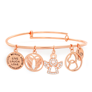 Sterlina Milano Crystal Rose Gold Charm Bangle