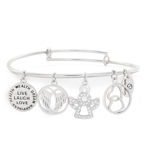 Sterlina Milano Crystal Silver Plated Charm Bangle