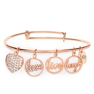 Sterlina Milano CrystalRose Gold Plated Charm Bangle