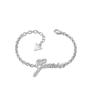 Guess Rhodium PlatedScript Logo Fancy Bracelet