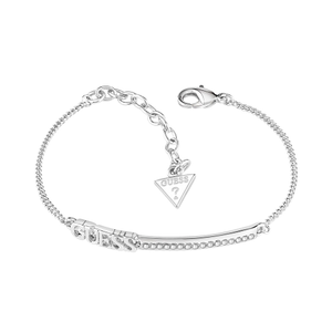 Guess Rhodium Plated Logo Bar Fancy Bracelet