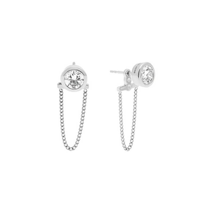 Michael Kors Silver Plated Crystal Stud Earrings