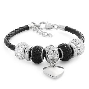 Stainless Steel Crystal Black Leather Fancy Bracelet
