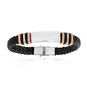 Stainless Steel Rose Gold Plated 19.5cm Black Leather Bracelet