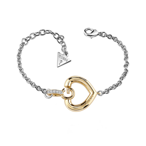 Guess Gold Plated Bold G Heart Fancy Bracelet