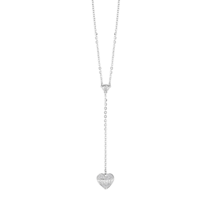 Guess Rhodium Plated Sparkle Heart Fancy Chain