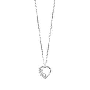 Guess Rhodium PlatedSparkle Love Heart Fancy Chain