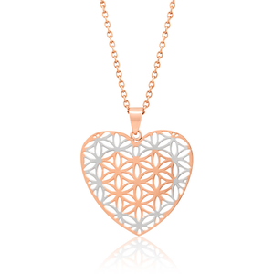 Stainless Steel Heart Flower Of Life Pendant With 70cm Chain