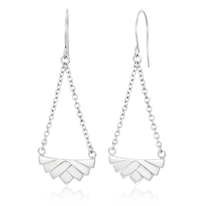 Stainless Steel Fancy Fan Shaped Drop Earrings