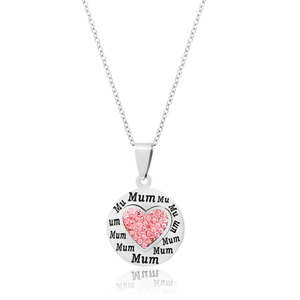 Stainless Steel & Crystal Pink Heart and Disc Mum Pendant on Chain