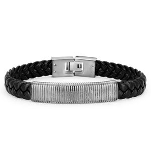 Forte Black Leather Bracelet