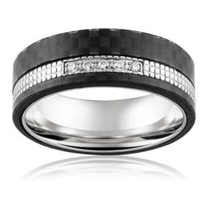 Forte Stainless Steel Cubic Zirconia Ring
