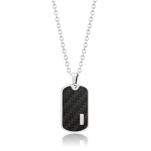 Forte Stainless Steel Carbon Fibre & Cubic Zirconia Tag Pendant With 55cm Chain