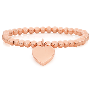 Stainless Steel Rose Gold Plated Stretch Bracelet with Heart Charm