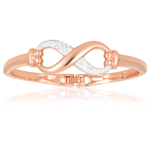 Rose Gold Plated Stainless Steel Crystal Infinity Bangle