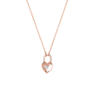 Michael Kors Stainless Steel Rose Gold Plated Crystal Clear Heart Pendant on Chain