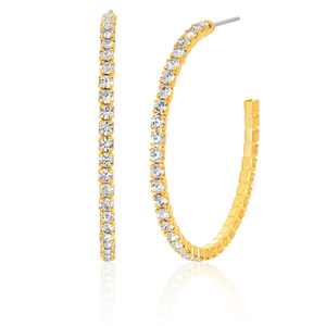 Crystal 30mm Gold Plate Hoop Earrings