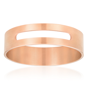 Stainless Steel Brushed Rose Gold Plated Cut Out Bangle 65mm