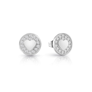GUESS Silver Filled Heart Round Pave Studs