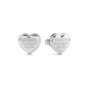 GUESS Silver Plated LA Script Heart Studs