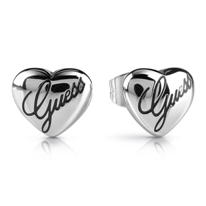 GUESS Silver Plated Small Plain Heart Studs