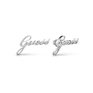 GUESS Silver Plated Italic Script Logo Studs
