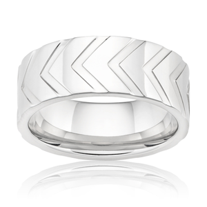 Stainless Steel Patterned Arrow Tread Ring