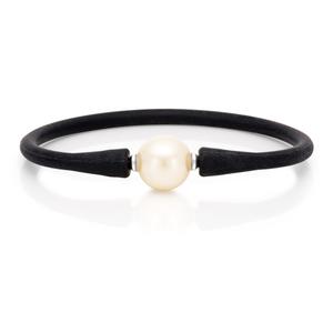 Simulated Pearl 12mm Bracelet Black