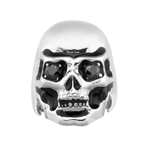 Stainless Steel Large Skull Ring set with Black Zirconia