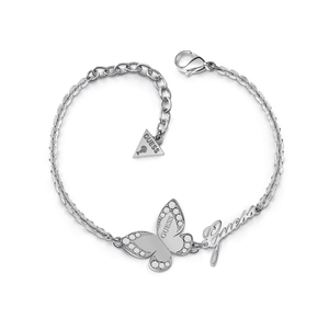 GUESS Silver Plated Butterfly and Logo Bracelet