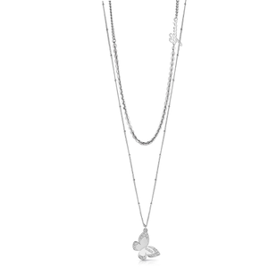GUESS 45cm Silver Plated Butterfly Pendant on Chain