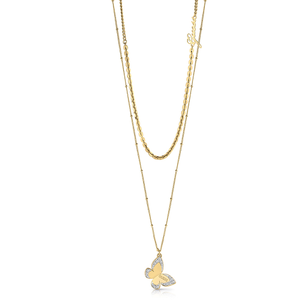 GUESS Gold Plated 45cm Butterfly Pendant on Chain