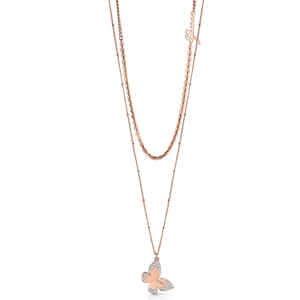 GUESS Rose Gold Plated Butterfly Pendant on Chain