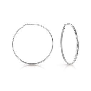 GUESS 70mm Silver Plated Stone Set Hoop Earrings