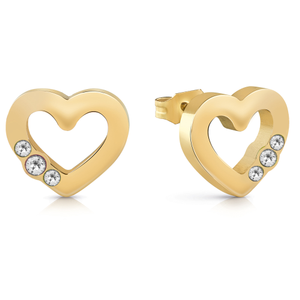 GUESS Gold Plated Stone Set Open Heart Stud Earrings