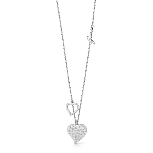 GUESS Silver Plated Stone Set Double Heart Pendant