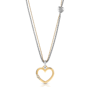 GUESS Silver and Gold Plated Stone Set Open Heart Drop Pendant