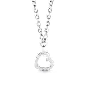 GUESS Silver Plated Chain and Single Heart Pendant
