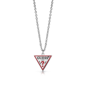 GUESS Silver Plated Small Chain and Triangle Logo Necklace
