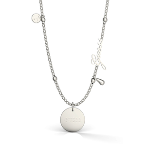 GUESS Silver Plated Greek Peony and Charm Necklace