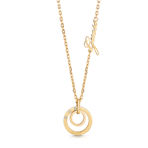 GUESS Gold Plated Double Circle and Logo Necklace