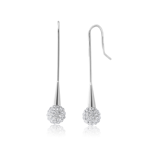 Stainless Steel Crystal Ball with Bar Drop Earrings