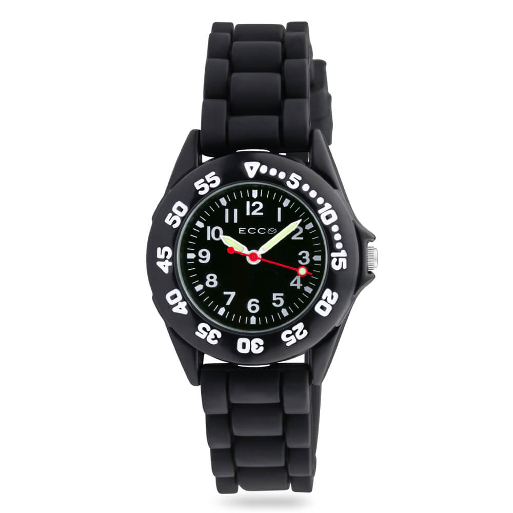 ECC Kids Black Silicone Strap Watch