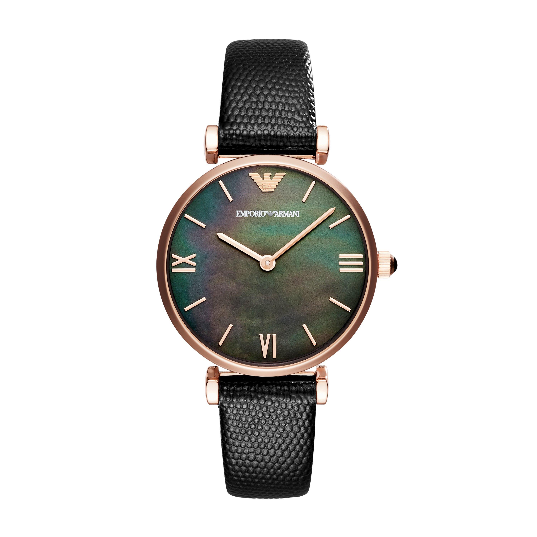 1be94b07 Emporio Armani 'Gianni T-Bar' AR11060 Black Leather Ladies Watch