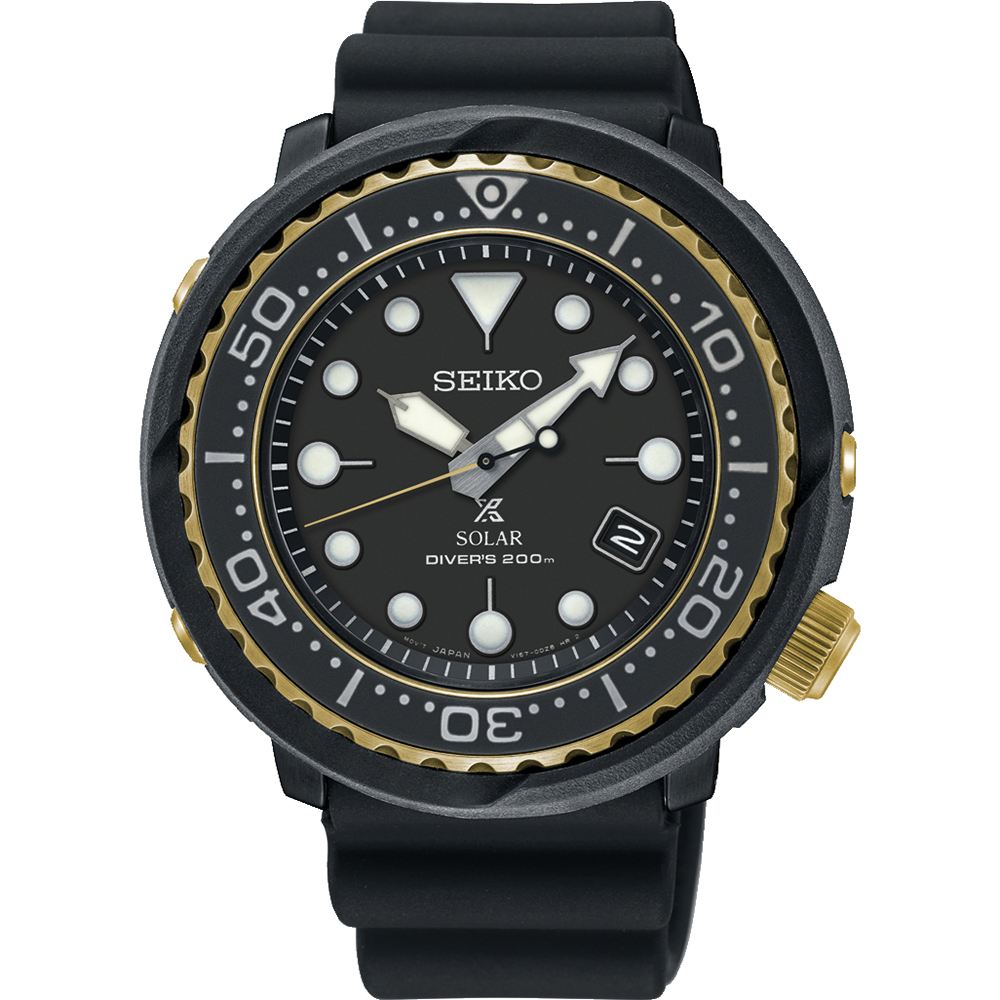 Seiko Prospex SNE498P Mens Black Solar Tuna Divers Watch