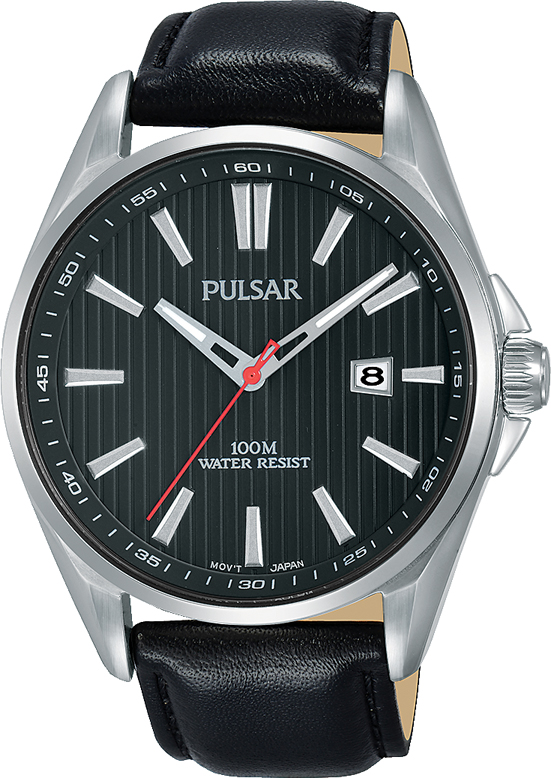 Pulsar PS9609X Black Leather Mens Watch
