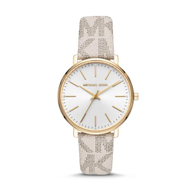 Michael Kors Pyper MK2858 MK Printed White Leather Womens Watch
